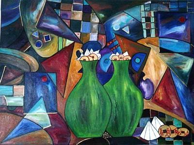 Two Vases Painting - Sparkling Diamonds Enchanting Garden by Rizwana Mundewadi
