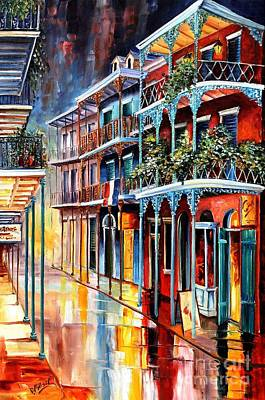 Rainy Painting - Sparkling French Quarter by Diane Millsap