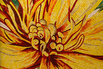 Photograph - Sparkling Intricate Golds And Yellows - A Floral Ceramic Tile Mosaic by Georgia Mizuleva