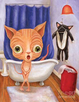 Sphynx Cat Painting - Sparky's Tubby Time by Vicky Knowles