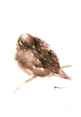 Sparrow Mixed Media - Sparrow Art Print Watercolor Painting by Joanna Szmerdt