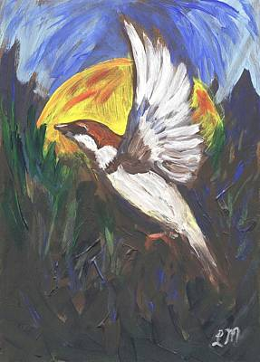 Sparrow Painting - Sparrow In Flight One by Linda Mears