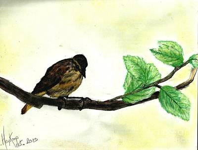 Pastel - Sparrow On A Branch by Francine Heykoop