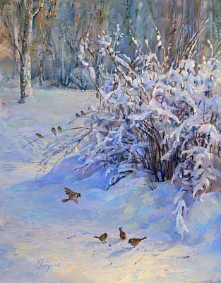Sparrow On Snow Art Print