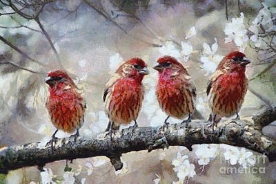 Art Print featuring the painting Sparrows by Georgi Dimitrov