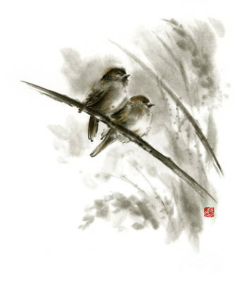 Sumi Painting - Sparrows Sumi-e Original Ink Painting Artwork by Mariusz Szmerdt