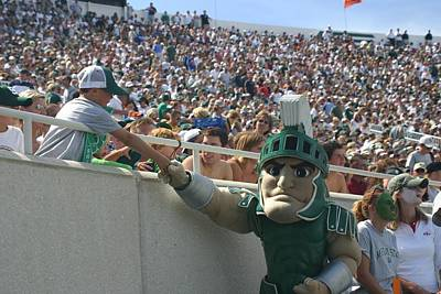 Sparty At A Football Game With Kid  Art Print by John McGraw