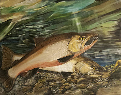 Painting - Spawning Salmon by Sara Stevenson