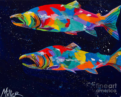 Salmon Painting - Spawning Sockeyes by Tracy Miller
