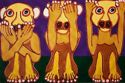 Speak No Evil See No Evil Hear No Evil Art Print by Matthew Brzostoski