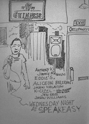 Mic Drawing - Speakeasy Open Mic by James Christiansen
