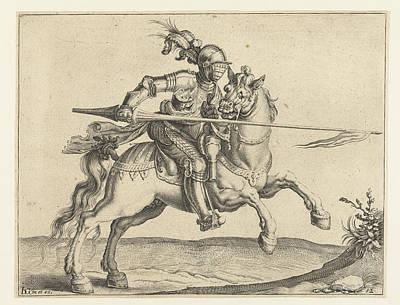 Speer Drawing - Spear Rider, Offensive Right, Jacob De Gheyn II by Jacob De Gheyn (ii)