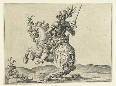 Speer Drawing - Spear Rider With Open Visor, Jacob De Gheyn II by Jacob De Gheyn (ii)