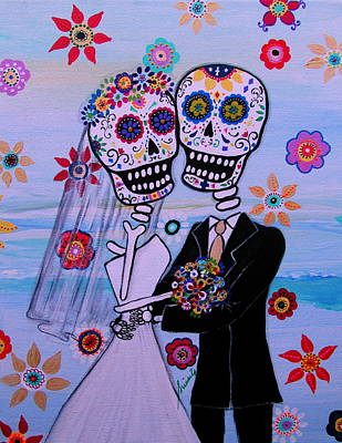 Wedding Couple Day Of The Dead Dia De Los Muertos Anniversary Gift Te Amo Painting - Special Day Dia De Los Muertos Wedding by Pristine Cartera Turkus