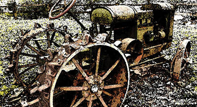 Speckled Antique Tractor Art Print