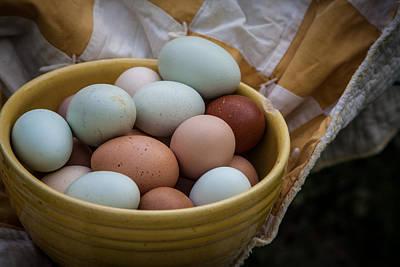 Vintage Quilt Photograph - Speckled Eggs by Toni Hopper