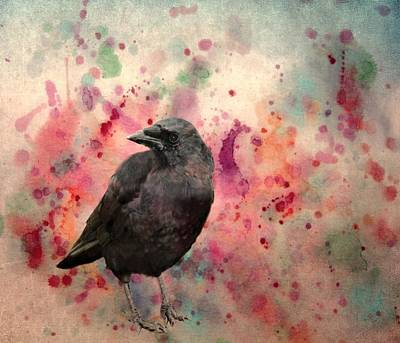 Blackbird Mixed Media - Color Splash Crow by Gothicrow Images