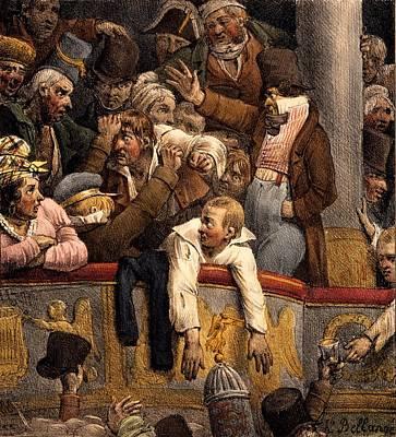 Theatre Drawing - Spectacle Gratis, Avant Scene by Joseph-Louis Hippolyte Bellange