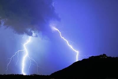 Spectacular Double Lightning Strike Art Print
