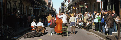 Spectator Looking At Street Musician Print by Panoramic Images