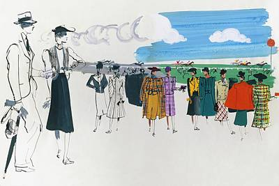 Old Fashioned Digital Art - Spectators At A Horse Race by Jean Pages