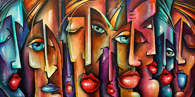 Urban Expressions Painting - 'spectators' by Michael Lang