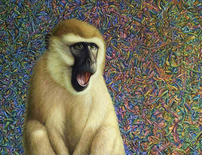 Monkey Wall Art - Painting - Speechless by James W Johnson