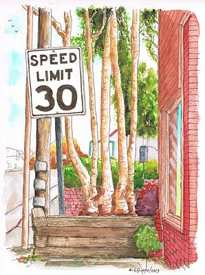 Laguna Beach Painting - Speed Limit 30 Sign In Laguna Beach - California by Carlos G Groppa