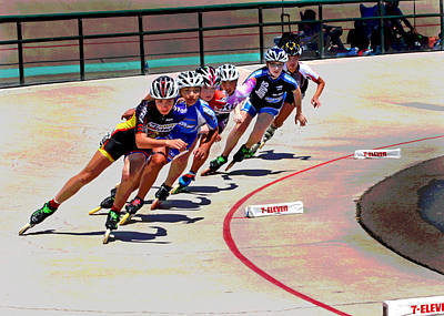 Speed Trials Photograph - Speed Skaters by Mike Flynn