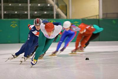 Athlete Photograph - Speed Skaters Training by Jim West