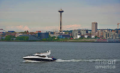Photograph - Speedboat In Foreground Of Seattle Wa Skyline Art Prints by Valerie Garner