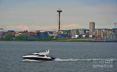 Photograph - Speedboat In Foreground Of Seattle Wa Skyline Art Prints by Valerie Garner