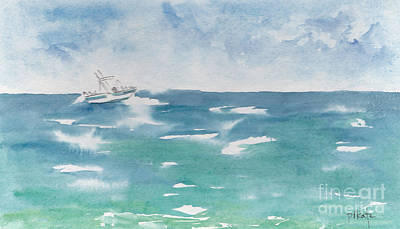 Caribbean Sea Painting - Speeding Across The Sea by Pat Katz