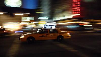 Speeding Taxi Nyc Art Print by David Cook