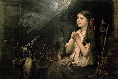 Spinning Wheel Painting - Spellbound by Frederick George Cotman