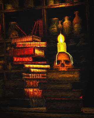 Library Painting - Spells by Bob Orsillo