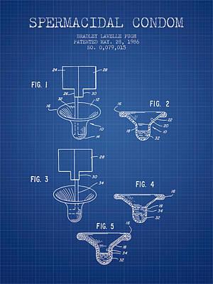 Sperm Digital Art - Spermacidal Condom Patent From 1986 - Blueprint by Aged Pixel