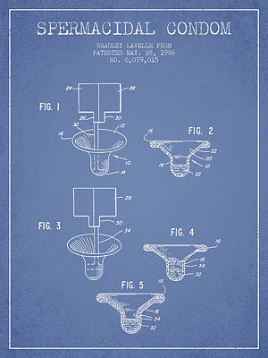 Spermacidal Condom Patent From 1986 - Light Blue Art Print by Aged Pixel