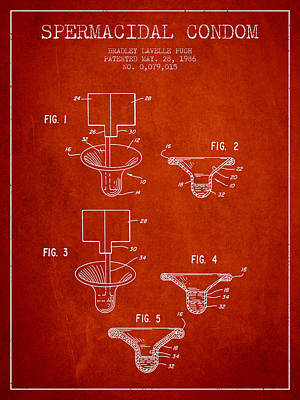 Spermacidal Condom Patent From 1986 - Red Art Print by Aged Pixel