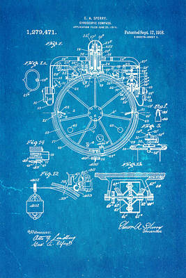 Photograph - Sperry Gyroscopic Compass Patent Art 1918 Blueprint by Ian Monk