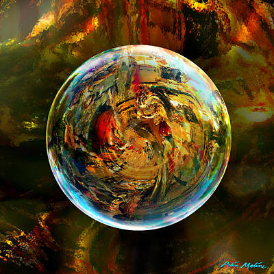 Warm Color Digital Art - Sphere Of Refractions by Robin Moline