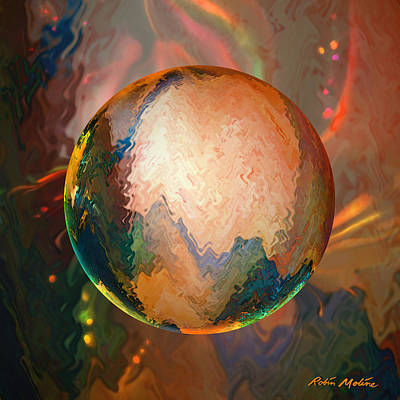Reflective Digital Art - Sphering Lunar Vibrations by Robin Moline