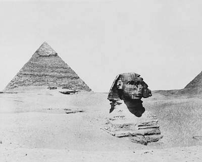Sphinx And Pyramid, Egypt, 1850s Art Print by Science Photo Library