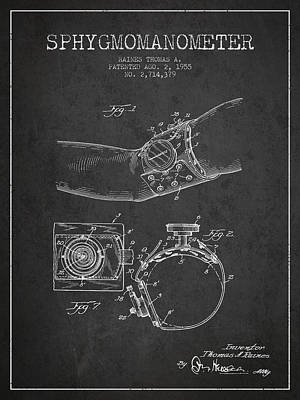 Sphygmomanometer Patent Drawing From 1955 - Dark Art Print by Aged Pixel