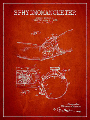 Pressure Drawing - Sphygmomanometer Patent Drawing From 1955 - Red by Aged Pixel