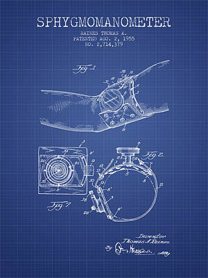 Hearts Digital Art - Sphygmomanometer Patent From 1955  - Blueprint by Aged Pixel