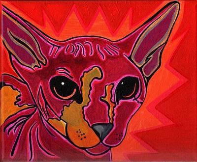 Sphynx Art Painting - Sphynx Cat by Kit Hunt