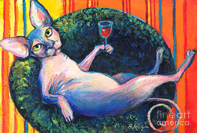 Wine Art Painting - Sphynx Cat Relaxing by Svetlana Novikova