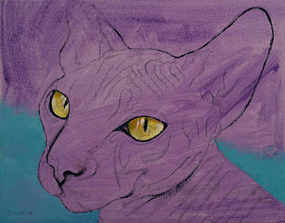 Sphynx Cat Painting - Purple Sphynx by Michael Creese