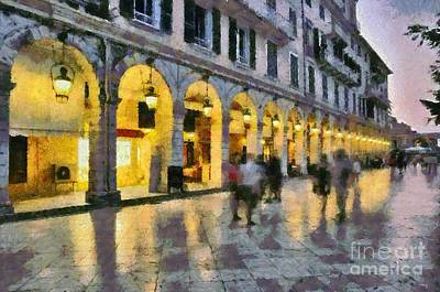 Painting - Spianada Square In Corfu City by George Atsametakis